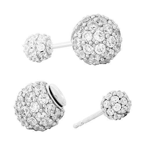 CZ Double-Sided, Double Ball Rhodium Plated Sterling Silver Stud Earrings by The Men's Jewelry Store (for HER)