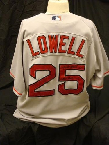 aedfd477f Image Unavailable. Image not available for. Color  Mike Lowell Signed Game  Used 2008 Boston Red Sox Away Jersey ...