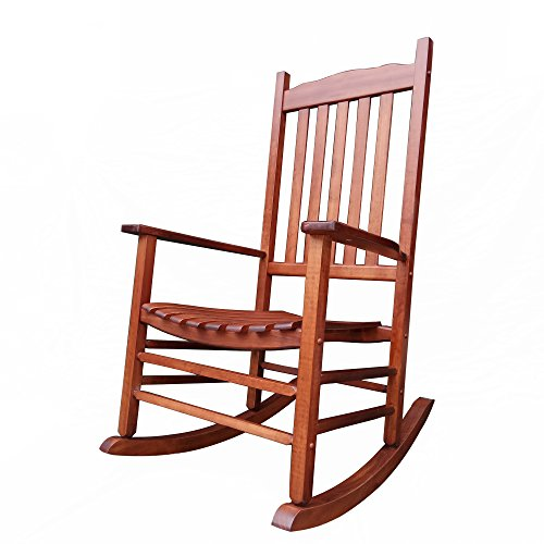 Rocking Rocker - A001NT Natural Wood Porch Rocker / Rocking Chair - Easy To Assemble - Comfortable Size - Outdoor or Indoor Use