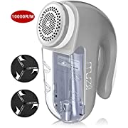 #LightningDeal Electric Fabric Shaver, Muzili Professional Sweater Lints Fuzzs Pills Remover for Clothes and Furniture with Dual Operated by Battery and AC Adapter, 2 Replaceable Stainless Steel Blades, 10000R/Min