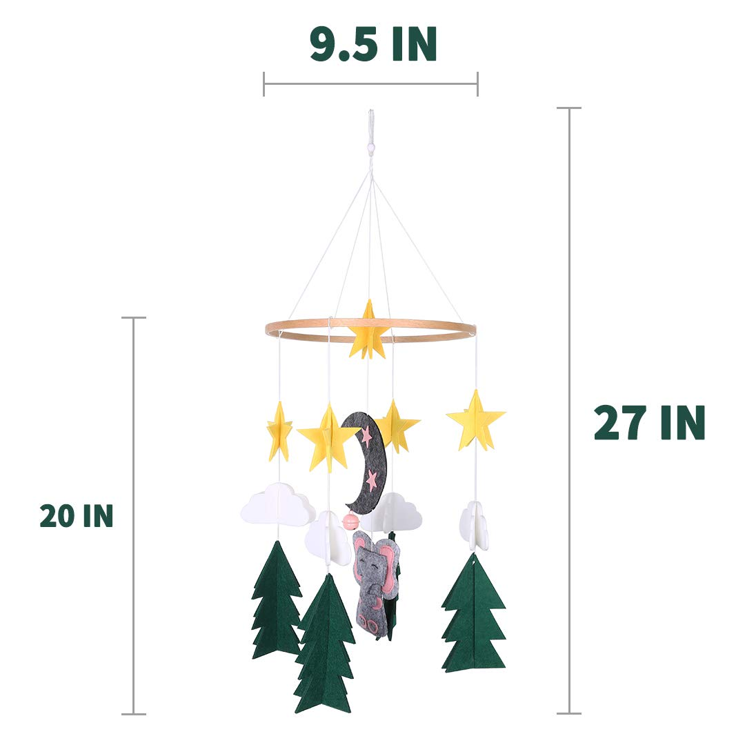 Baby Crib Mobile Starry Woodland Night Nursery Decoration Mobile Crib for Boys and Girls Home Decoration Wind Chimes