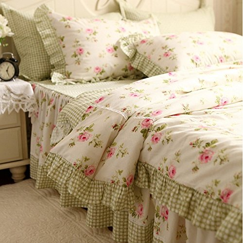 FADFAY Elegant And Shabby Floral Bedding Set Pink Rosette with Green Grid Bedskirt,4 Pieces Duvet Cover Sets,100% Cotton,Twin Size Shabby Chic Shabby Bedskirt