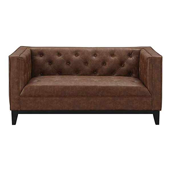 Manhattan Comfort 222HL7 Cadman Mid Century Modern Fuax Leather Button Tufted Living Room Loveseat, 59.06
