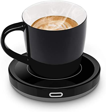 Smart Coffee Cup Warmer Set, E YIIVIIL Auto OnOff Gravity induction Mug Warmer for Office Desk Use, Candle Wax Cup Warmer Heating Plate (Up To