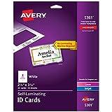 Avery Self Laminating Cards, Printable, 2-1/4'' x 3-1/2'', 30 ID Badge Holders (5361)