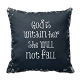 Life Quote Design Pillow Cover 20 x 20 God is Within Her, She Will Not Fall Bible Verse Pillowcase by Pillowcase
