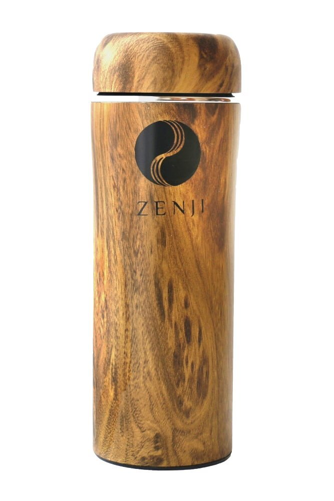 Zen Bamboo Thermos for Tea or Coffee by Zenji   Stainless Steel, Eco-Friendly, Natural Wood Design Travel Mug   Insulated Water Bottle for Indoors or Outdoors   Japanese Style Bottle for Eco-Conscious