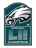 WinCraft NFL Philadelphia Eagles Super Bowl LII Champions Wood Sign, 11 x 17-inches