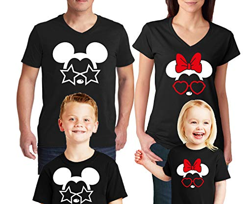 Natural Underwear Land Family Trip and Mouse with Glasses Stars and Heart Men Women Kids Youth Boys Girls V Neck T Shirts Black Youth Girls Small ()