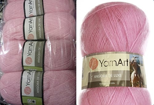 (70% Mohair 30% Acrylic Yarn Mohair Angora Wool Yarn YarnArt Angora De Luxe Thread Crochet Lace Hand Knitting Craft Art 4skn 400gr Color Light Pink)