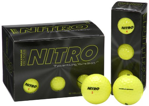 Long Distance Golf Balls (12PK) All Levels-Nitro Maximum Distance Titanium Core 85 Compression High Velocity Spin Control Long Distance Golf Balls USGA Approved-Total of 12-Yellow (Best Wedges For Average Golfer)