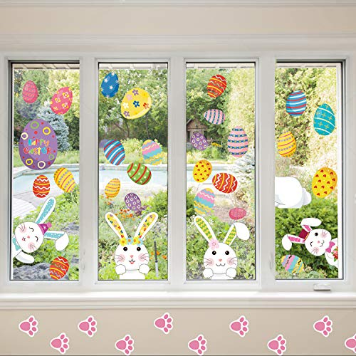 Ocosy 81Pack Easter Stickers Easter Decorations Easter Eggs Easter Window Clings Bunny Paw Decals Easter Wall Door Floor Décor (Easter)