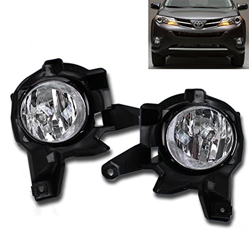 ZMAUTOPARTS 15 Toyota Rav4 Bumper Driving Chrome Fog Light Lamp+Bulb+Cover+Harness+Switch ()