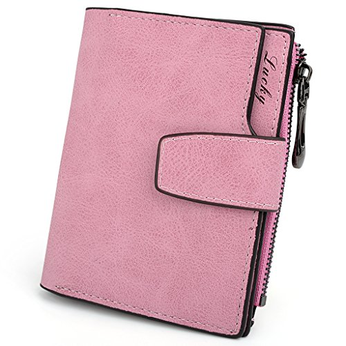 UTO Women's PU Matte Leather Wallet Card Holder Organizer Girls Small Cute Coin Purse with Snap Closure Pink