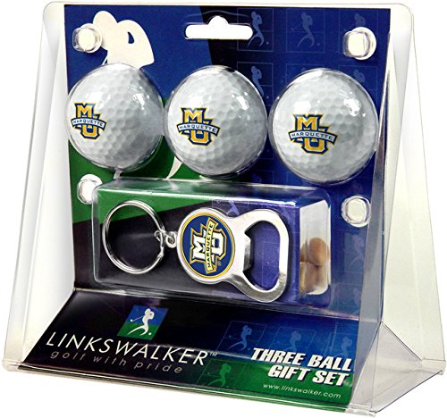 Marquette Chain (Marquette Golden Eagles Golf 3 Ball Gift Pack with Key Chain Bottle Opener)