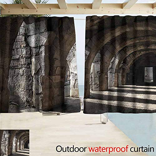 (MaryMunger Outdoor Patio Curtains Ancient Dark Shadows Stone Portico Drapes for Outdoor Decor W55x72L Inches)