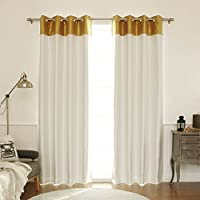 Best Home Fashion Topborder Faux Silk Blackout Curtain - Stainless Steel Nickel Grommet Top  - Gold/Ivory - 52W X 84L - (1 Panel)