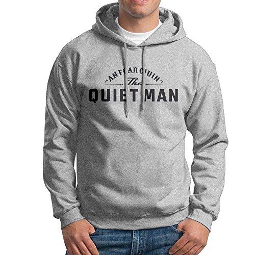 FUOALF Mens Pullover Quiet Man Hoodie Sweatshirts Ash M