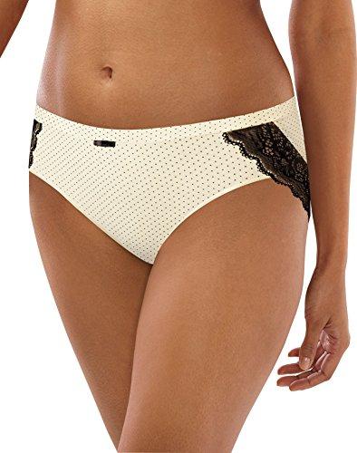 Bali Women's Cotton Desire W Hipster, Whisper White Micro Dot Black Lace Bow, (Microdot Design)