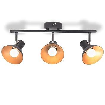 ROMELAREU Lámpara de Techo para 3 Bombillas E27 Negra y ...