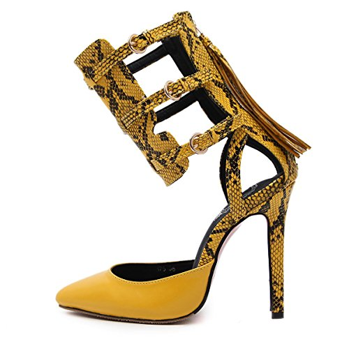 Shoes Pointed Party Ladies Yellow High Women Snake Dance YC With Heels Fine L PBYSHqxzw