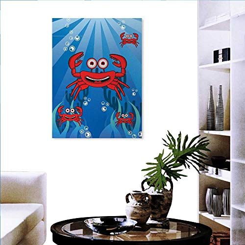 familytaste Crabs Art Stickers A Group of Funny Crab Underwater with Smiling Happy Faces Bubbles Coral and Sun Rays Ready to Hang for Home Decorations Wall Decor 32