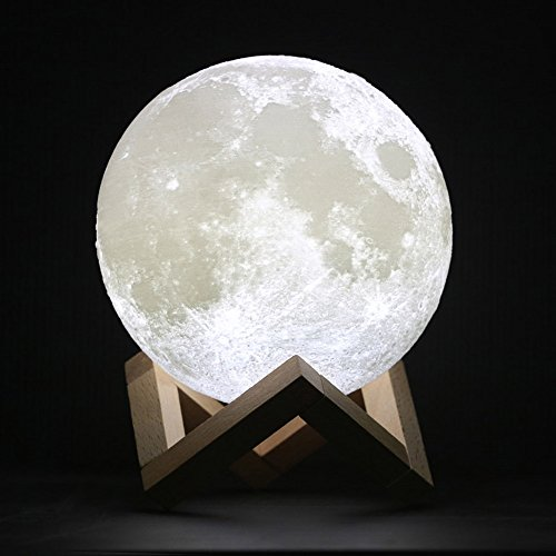 Moon Lamp-3D Printing Moon Light[Diam 4.7 inch(0.38 lbs),1 LED Lamp Bead,PLA Material].Dimmable LED Luna Moon Lamp,Touch Control Rechargeable Home Decorative Night Light with Wood - Mens Warehouse Returns Policy