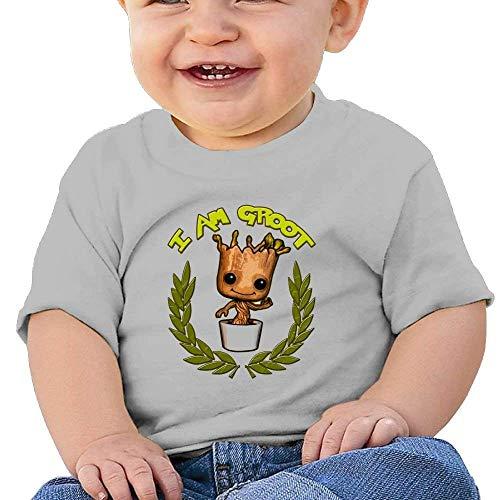 sretinez I Am Groot 11 Washed Cotton Baby Boy Shirt Cute Summer T Shirt Funny Gray -