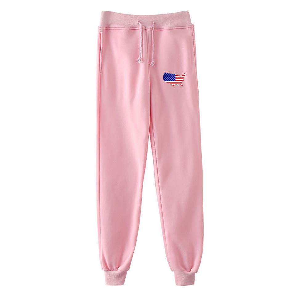 Women's Pants USA American Flag Print Casual Fashion Casual Drawstring Joggers Trousers Sweatpants Pink by Appoi Women Pants