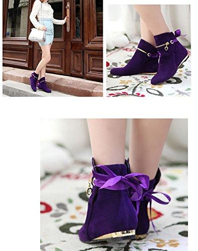 Hiver Boots Chelsea Bottes Plat Bottines Neige Femme Chaussures Classiques Automne Talon Elegant Laine Courtes De Shallgood Violet Antidérapage zxE8Uqf