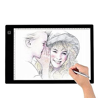 Tracing Light Box, A4 LED Artcraft Tracing Light Pad Light Box For Artists,Drawing, Sketching, Animation, 9.4x14 Inch Light Pad from Happycamping