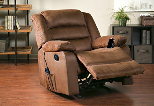Large Recliner Chair Big Tall Brown Best Vibrating Heating ...