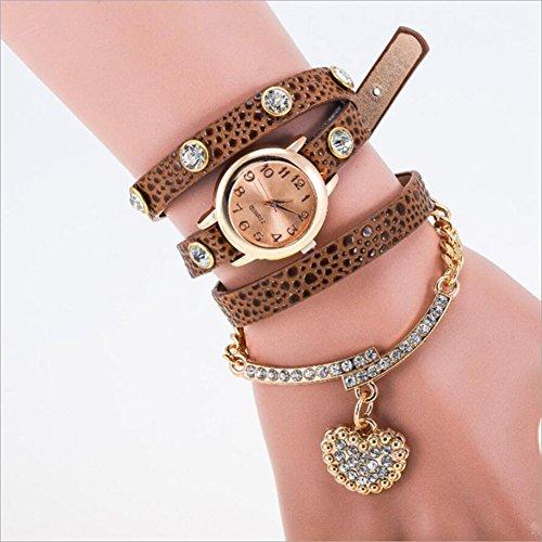 Lblll Leopard Heart Shaped Diamond Pendant Bracelet Women's Fashion Watch,A