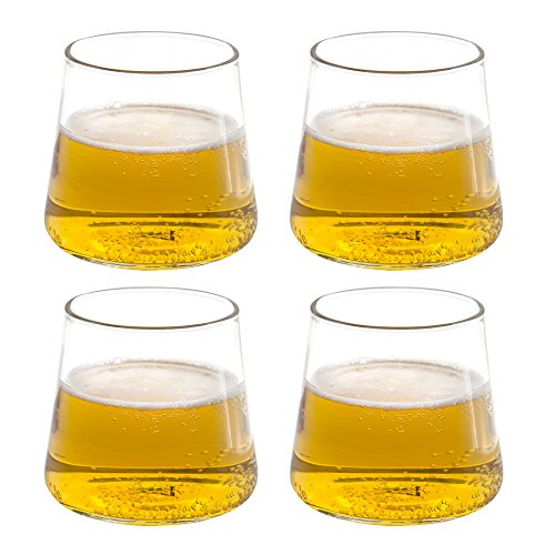 Triangle 12oz, Whiskey Snifter Glasses Set of 4, Hand Blown Borosilicate Glass, Dishwasher Safe, Lowball Glasses for Cool Beer, Hot Beverage, Cocktail, Juice, Ice Tea, Wine Glasses Gift Set by TRIANGLE