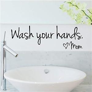 Vpogn DIY Wash Your Hands Love Mom Quote Bathroom Wall Stickers Waterproof Art Vinyl Decal Bathroom Wall Decor