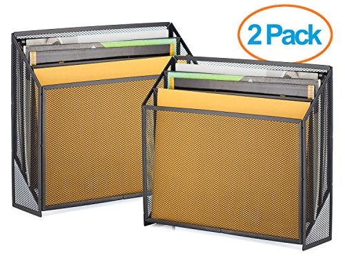 Halter Universal Steel Mesh Three Slot Standing File Organizer - Black - 2 Pack