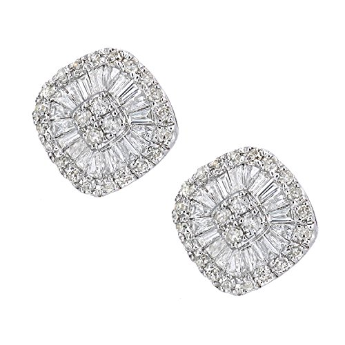 Revoni Bague en or blanc-18carats boucles d'oreille à tige avec diamants Baguette