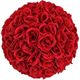crazyworld 5PCS 10 Inch Elegant Satin Rose Flower Ball for Wedding Party Ceremony Decoration Party Event (Wine Red)