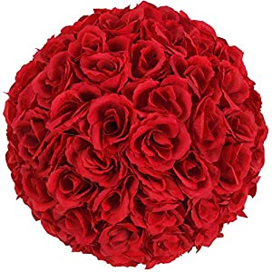 Gentle Women 10 Inch Rose Flower Ball Artificial Romantic for Home Outdoor Wedding Party Centerpieces Decorations (10PCE) (Wine Red) 10