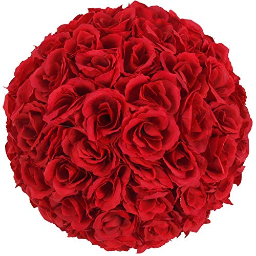 crazyworld 5PCS 10 Inch Elegant Satin Rose Flower Ball for Wedding Party Ceremony Decoration Party Event (Wine Red) ()