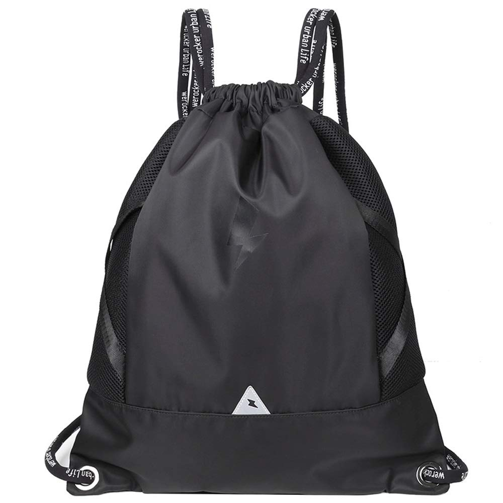 Backpack Outdoor Sports Backpack Large Capacity Casual Backpack Lightweight Fitness Backpack Drawstring Basketball Backpack (Black)