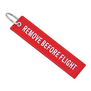 Desconocido Llavero Rojo de Cinta de Bordado con Texto en inglés Remove Before Flight