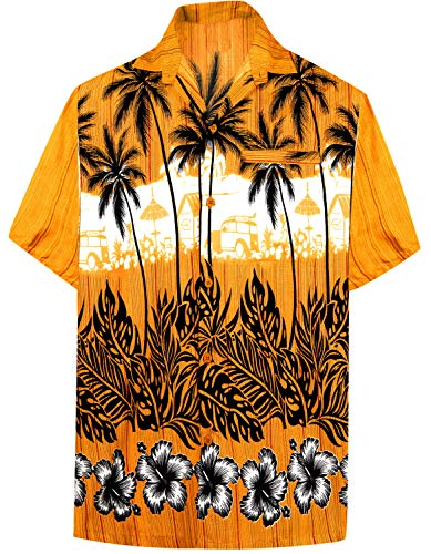 LA LEELA Likre Pocket Vintage Hawaiian Shirt Golden 495 5XL | Chest 66