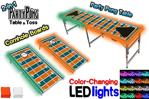 2-in-1 Cornhole Boards & Beer Pong Table w/ Color-Changing LED Glow Lights - Miami Football Field