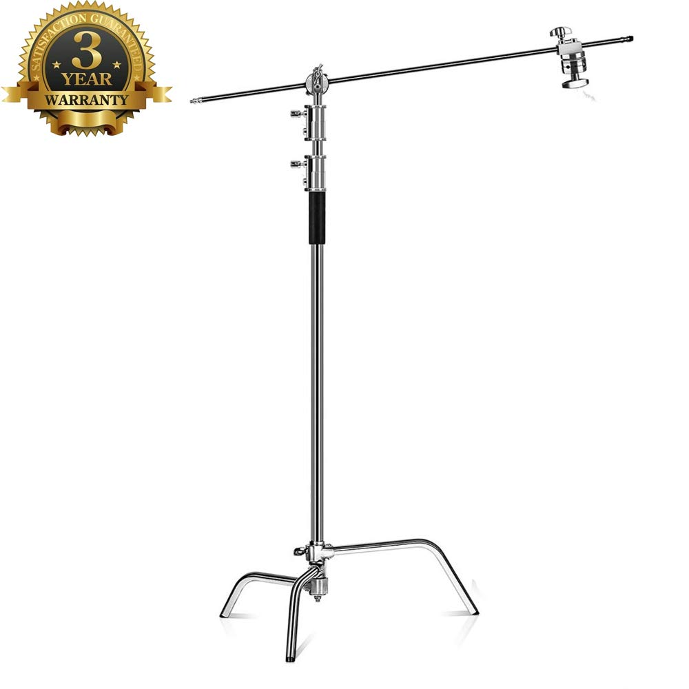 Kshioe Pro 100% Metal Adjustable Reflector Stand with 4ft/120cm Holding Arm and 2 Pieces Grip Head for Photography Studio Video Reflector, Monolight, Softbox and Other Equipment by Kshioe