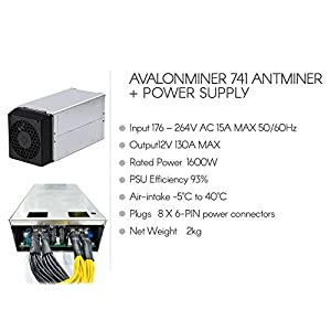 Avalonminer 741 antminer 7.3 TH/s + Power supply 1600W 8 X 6-PIN Bitcoin Miners