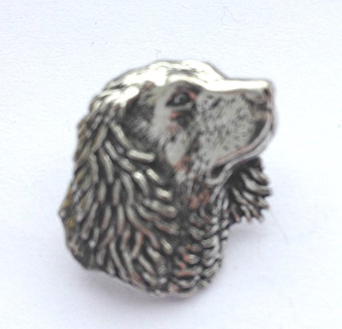 Fine Pewter Small Spaniels Dog Head Pin Badge with Gift Pouch