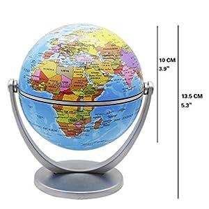 Exerz 10CM Mini Globos 2 Piezas: 1 x Globo Político, 1 x Estrellas Y Globo De Constelaciones – Mapa ingles – Gira En Todas Las Direcciones. Educativo, Decorativo, Pequeño Mundo