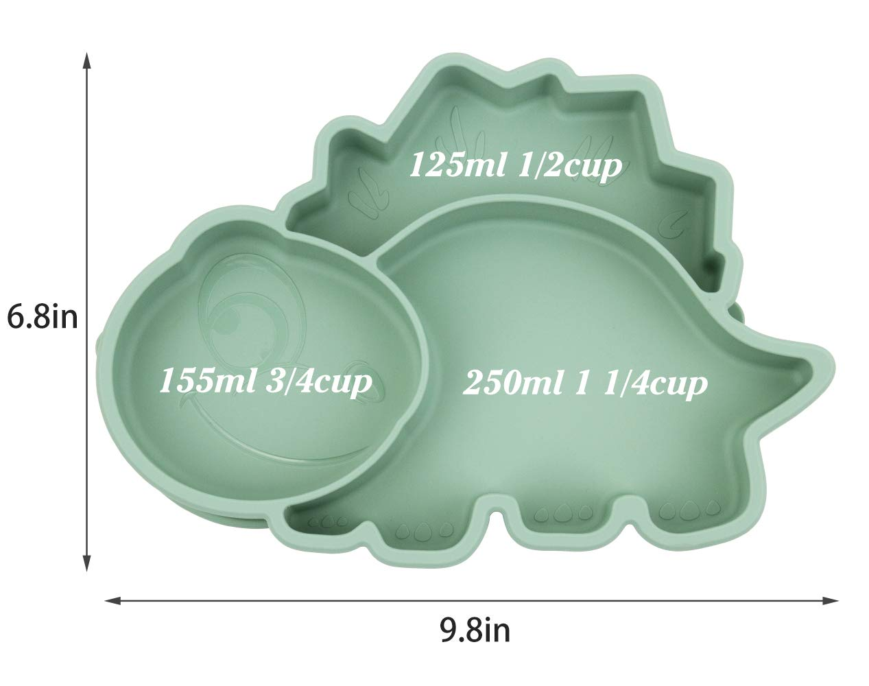Qshare Toddler Plate Dishwasher and Microwave Safe Silicone Placemat 11x8x1 inch BPA-Free Strong Suction Plates for Toddlers Portable Baby Plate for Toddlers and Kids Dino-Gray