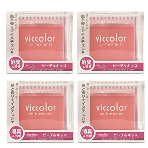 4-pack Viccolor Peach & Kiss (Fresh Peach Scent with Floral Bouquet Fragrance) High Quality Luxury Air Freshener JDM Genuine Diax Japan for Home/office/ Car/ Auto/ Rv by DIAX Viccolor